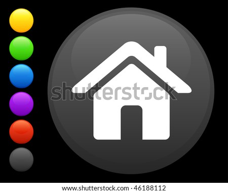 house icon on round internet button original vector illustration 6 color versions included - stock vector