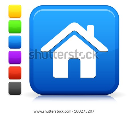 House Icon on Square Internet Button Collection - stock vector