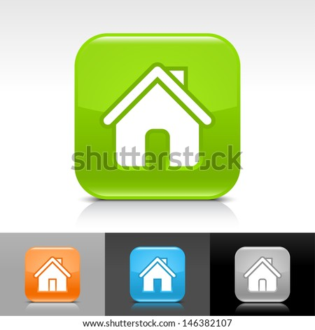 House icon set. Blue, orange, green, gray color glossy web button with white sign. Rounded square shape with shadow, reflection on white, gray, black background. Vector illustration element 8 eps - stock vector