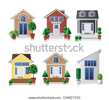 House Icon Set. EPS 10 vector, grouped for easy editing. No open shapes or paths. - stock vector