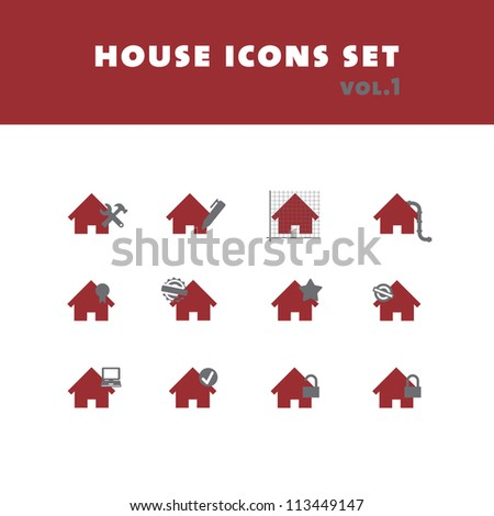 house icons set - stock vector