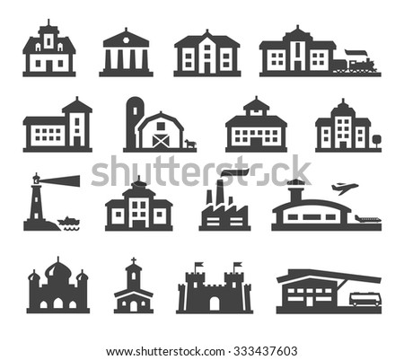 house icons set. collection elements fortress, farm, college, bus station, railway station, airport, fortress, church, factory, bank, mansion, hotel, barn, construction, real estate - stock vector