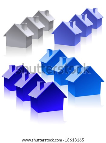 House icons, vector illustration, EPS file included - stock vector