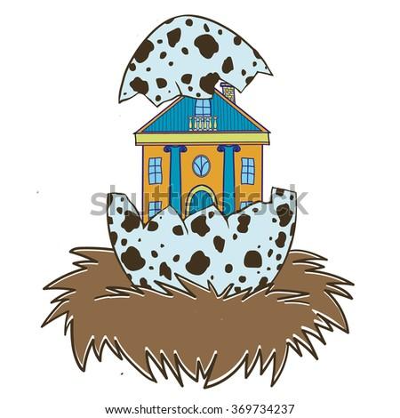 house in a bird egg - stock vector