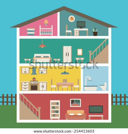 House in cut. Detailed modern interior inside house. Rooms with furniture.  Flat style vector illustration. - stock vector