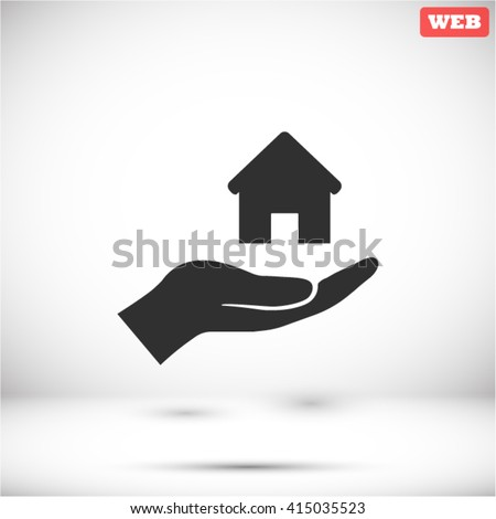 House in hand Icon, House in hand icon flat, House in hand icon picture, House in hand icon vector, House in hand icon EPS10, House in hand icon graphic, House in hand icon object - stock vector