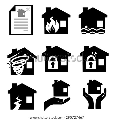 House insurance icons Set.vector - stock vector