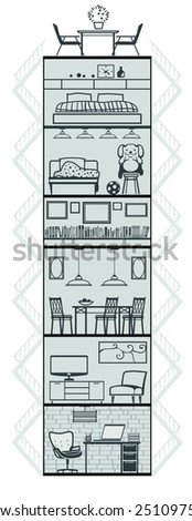 house interior different rooms silhouette. Vector illustration - stock vector