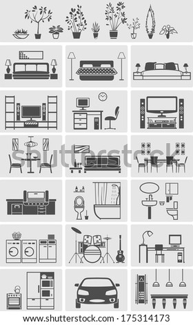 house interior elements silhouette. Vector illustration - stock vector