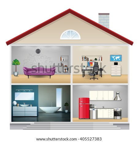 House interior - kitchen, bathroom, living room and office - home concept - stock vector