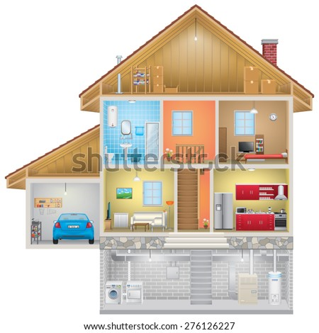 House Interior on White Background - stock vector