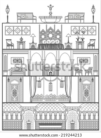 house interior silhouette in oriental style. Vector illustration - stock vector