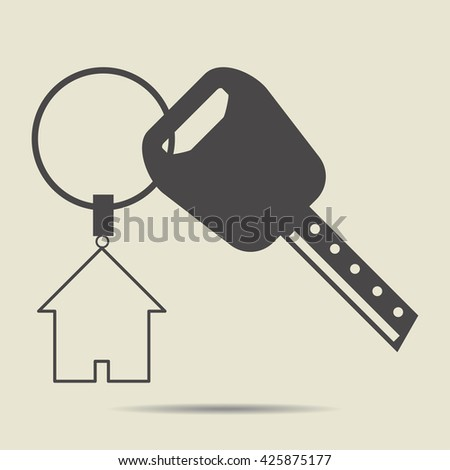 House key icon vector illustration on the gray  background with shadow,House key icon,House key vector,House key art,House key sign,House key icon vector illustration. - stock vector