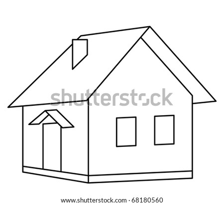 House little country village, monochrome contours, isolated - stock vector