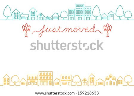 house-moving greeting card - stock vector