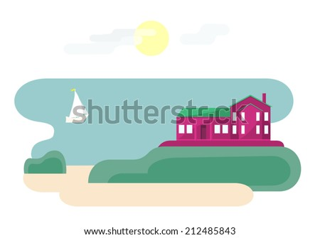 House near ocean. Vector illustration of landscape with villa, beach, sun in the sky and cute sailboat. Traveling theme series. Flat style. Vector file is EPS8, all elements are grouped. - stock vector
