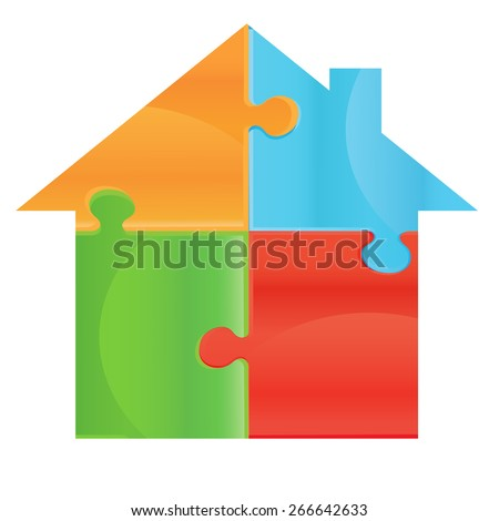 House object made of puzzle pieces. Isolated puzzle pieces on white background  Design elements for your logo. Puzzle presentation template field for business - stock vector