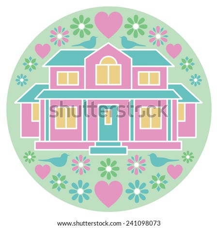 House of Love and Happiness illustration of a home with birds, flowers and hearts. - stock vector