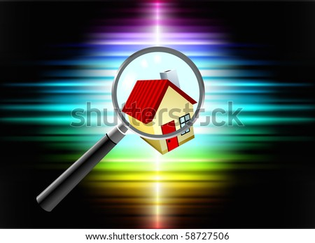 House on Abstract Spectrum Background Original Illustration - stock vector