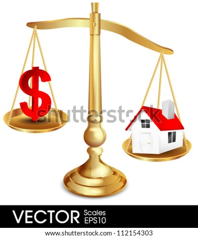 House on balance scale - stock vector