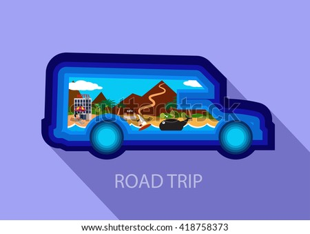 House on wheels flat simbol. Transport silhouette. The concept of road travel and vacation.  - stock vector