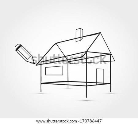 House outline in perspective - stock vector