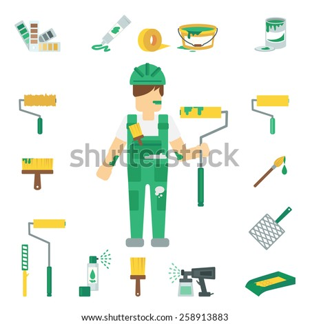 House painter flat decorative icons set with man working and home repairing tools isolated vector illustration - stock vector