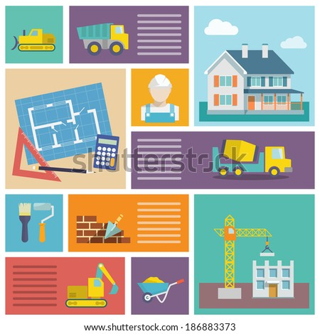 House plan and building construction icons set with tools trowel lorry isolated vector illustration - stock vector