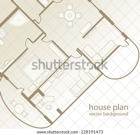 House Plan. Architectural background. Vector illustration - stock vector
