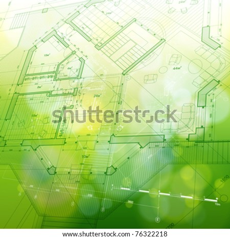 house plan: vector blueprint - stock vector
