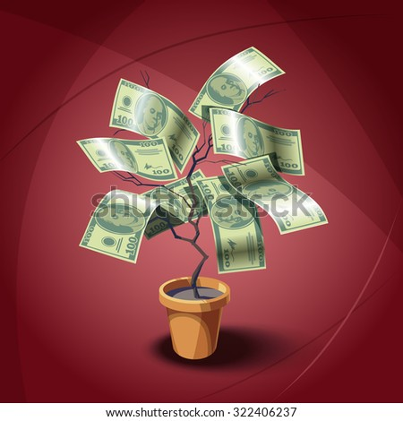 House plant with dollars leafes. Vector illustration. eps.10 - stock vector