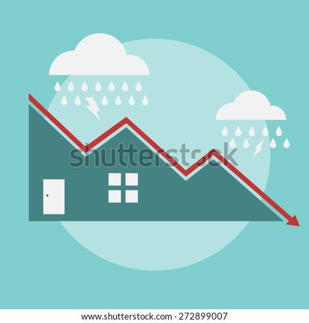 House Price Decline - Vector Illustration - stock vector