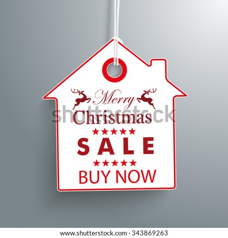 House price sticker for christmas sale. Eps 10 vector file. - stock vector