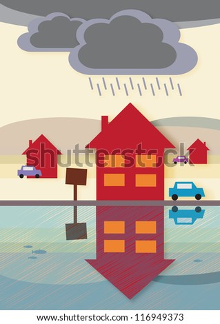 House prices on the way down, symbolized by the dark rain clouds and reflected arrow shape pointing downwards in the water. - stock vector