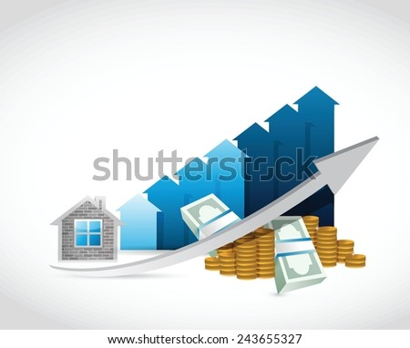 house prices up and money illustration design over a white background - stock vector