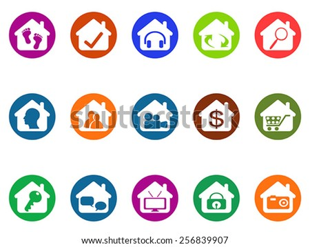 house real estate buttons icons set - stock vector
