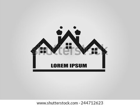 House Real Estate roof logo design - stock vector