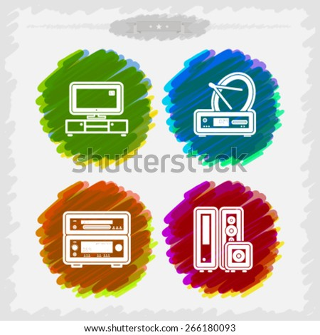 House related Objects from left to right - Television LCD set, Satellite dish and receiver, Amplifier and DVD player, Home cinema speakers.  - stock vector