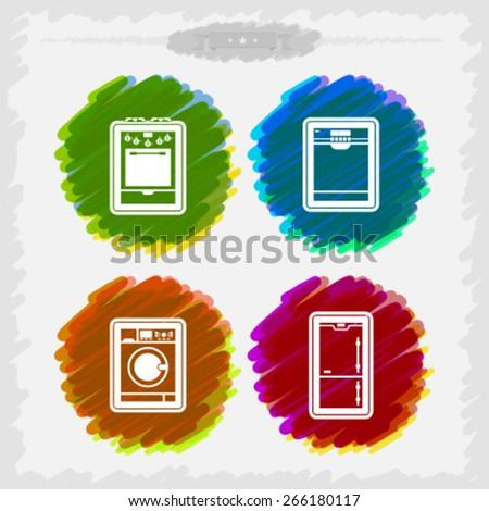 House related Objects - Stove, Dishwasher, Washing machine, Fridge.  - stock vector