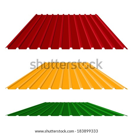 House remodel: corrugated metal roof (corrugated metal siding, profiled sheeting), vector illustration - stock vector