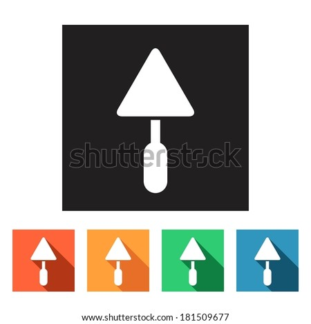 House remodel: set of flat colored simple web icons (trowel, spattle, filling knife, tools, hardware, manufacture), vector illustration - stock vector