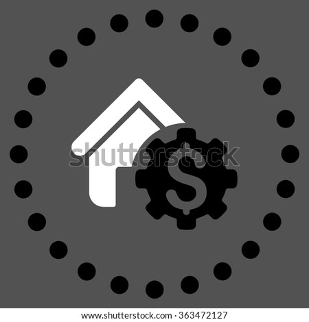 House Rent Options vector icon. Style is bicolor flat circled symbol, black and white colors, rounded angles, gray background. - stock vector