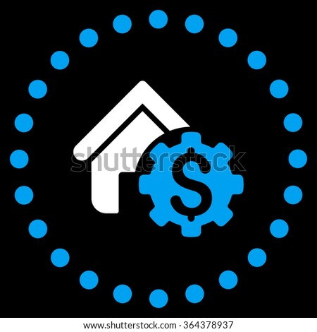 House Rent Options vector icon. Style is bicolor flat circled symbol, blue and white colors, rounded angles, black background. - stock vector