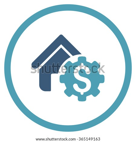 House Rent Options vector icon. Style is bicolor flat circled symbol, cyan and blue colors, rounded angles, white background. - stock vector