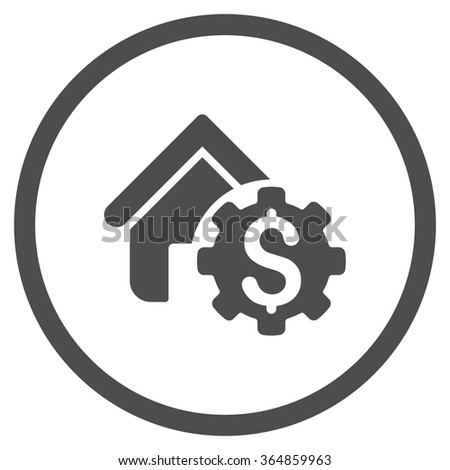 House Rent Options vector icon. Style is flat circled symbol, gray color, rounded angles, white background. - stock vector