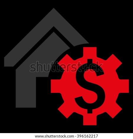 House Rent Options vector icon. Style is flat symbol, red color, black background. - stock vector