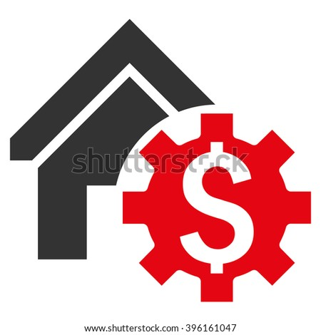 House Rent Options vector icon. Style is flat symbol, red color, white background. - stock vector