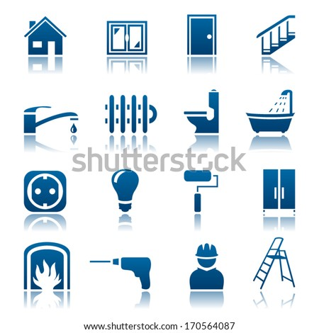 House repair icon set - stock vector