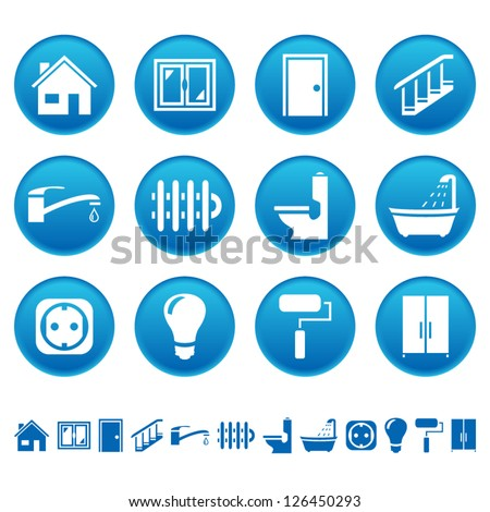 House repair icons - stock vector