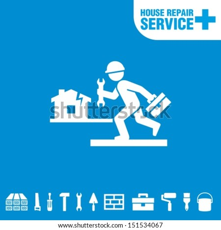 House repair service. Worker with tool. - stock vector
